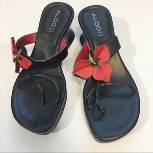 Rare Aldo flower leather sandals 9.5